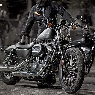 KiWAV Magazi Lucifer Espejos Retrovisor con LED Intermitente doble Negro Moto Mirrors Emark IP69K para Harley-Davidson
