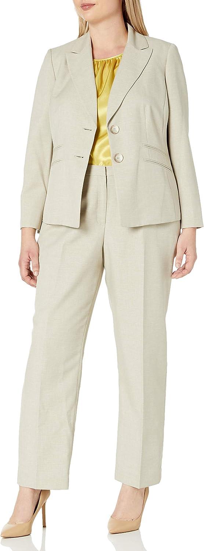 Le Suit Women's Plus Size Glazed Melange 2 Button Notch Lapel Pant Suit with Cami