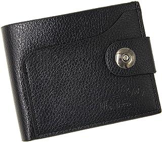 BeniNew men's wallet short large capacity magnetic buckle pu wallet-black