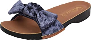 Catwalk Women's Velvet Bow Detail Slides