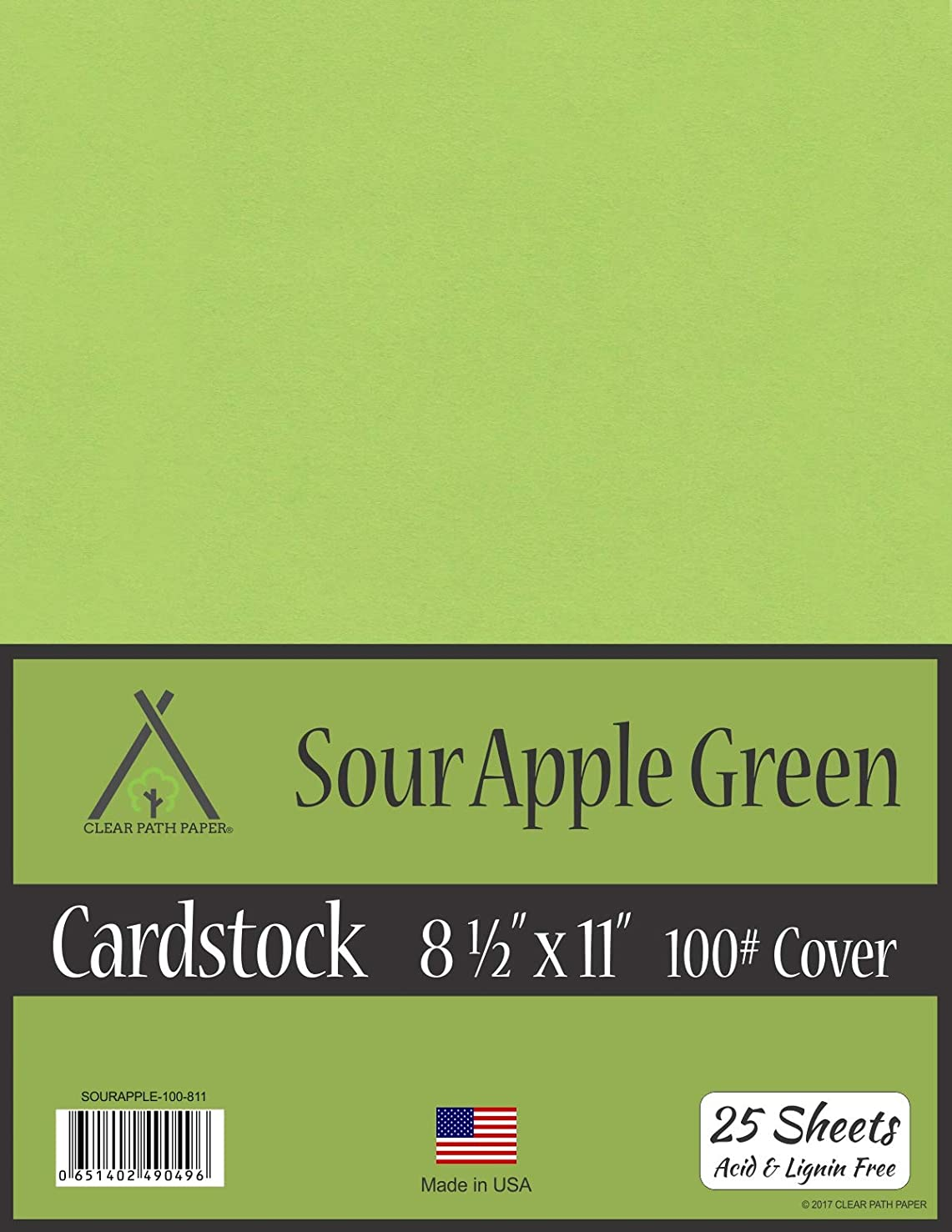 Sour Apple Green Cardstock - 8.5 x 11 inch - 100Lb Cover - 25 Sheets