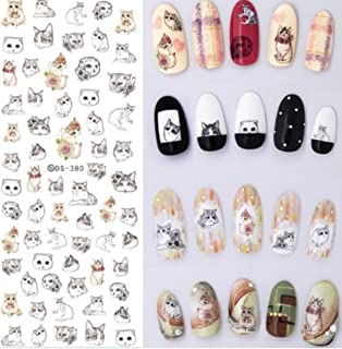 1 Sheet 3D Animal Series Nail Art Sticker Flamingo Unicorn Ocean Cat Plant Water Transfer Nails Wrap Paint Tattoos Stamping Plates Templates Tools Tips Kits Outstanding Popular Decals Kit, Type-20