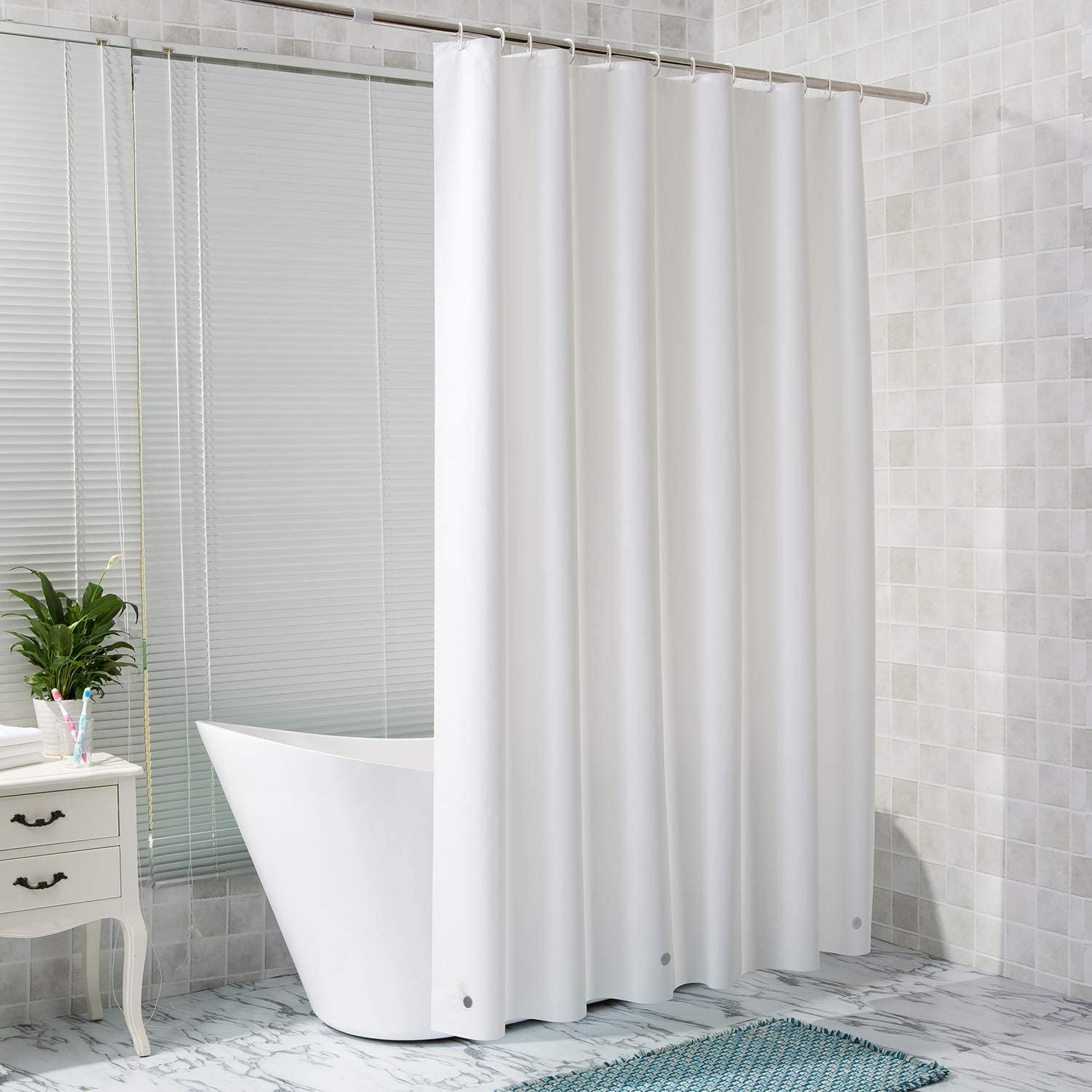 Waterproof and Odorless Bathroom Accessories Clear Shower Curtain Liner with Magnets 72 x 72 in 3D Circle Arcedo Plastic Shower Curtain 8G EVA Shower Liner for Shower Stalls or Tubs