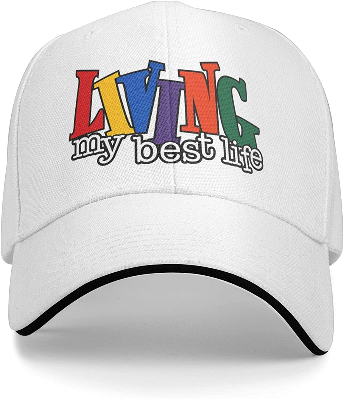 Living My Best Life Distressed Baseball Cap Dad Caps Trucker Hats Adjustable Unisex Hat White