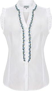 Schöneberger Trachten Couture Damen Trachtenbluse Mira - Oktoberfest Bluse tailliert mit elegantem Schnitt & verziertem Dekollté