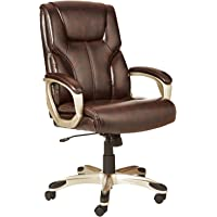 AmazonBasics High-Back Executive Swivel Office Desk Chair (Brown with Pewter Finish) - Used - Like New