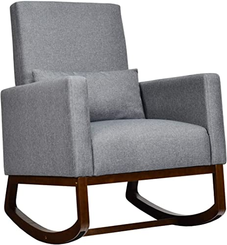 lowest Giantex Upholstered Rocking Chair, Modern High Back Armchair, Comfortable Rocker with Fabric Padded Seat, Waist Pillow outlet sale and wholesale Wood Base Accent Chair for Nursery, Living Room, Bedroom, Office, Gray outlet online sale