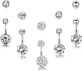 14G Sterling Silver Belly Button Rings for Women Girls, 5 PCS Navel Rings CZ Body Piercing Jewelry