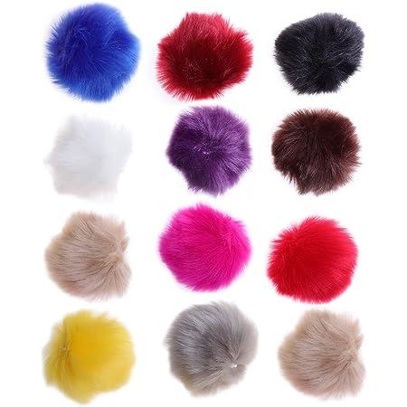 ULTNICE 12pcs Faux Fur Pom Poms bola esponjosa DIY para tejer sombreros bufandas bolsos encantos