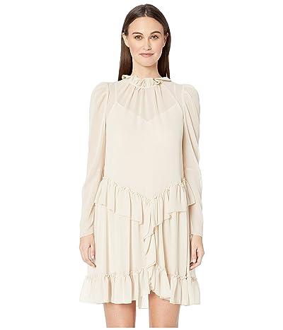 See by Chloe Textured Georgette Peplum Dress (Foggy Ivory) Women