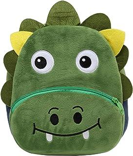Mochila para Niño, Kasgo Pequeño Mochilas Infantil Linda Mochilas para Guardería Animales 3D Suave Mochila de Felpa para Bebe(Dinosaurio Verde)