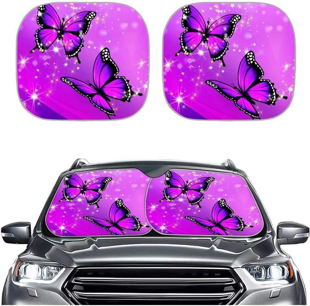 Price reduction Forchrinse Purple Butterfly Fort Worth Mall Foldable Car Window 2 Sunshade Front