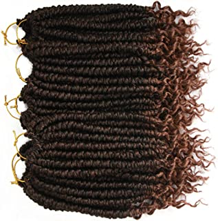 8 pcs/Pack Ombre Crochet Curly Wave Havana Mambo Senegalese Twist Hair Extension For Women 12 Roots/Pcs Synthetic Fluffy 12 Inch Spring Twist Crochet Braiding Hair (Black&Brown(1B/30#))