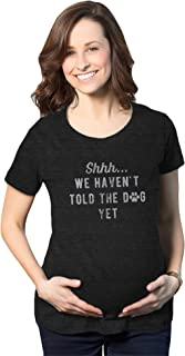 Maternity Shh We Haven't Told The Dog Yet Tshirt Funny Pet Puppy Lover Baby Announcement Pregnancy Tee (Heather Black) - S