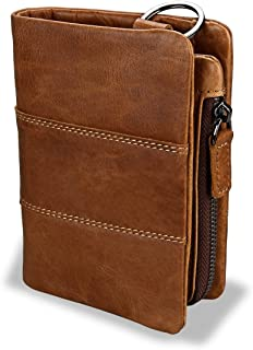 Mens RFID Blocking Genuine Leather Wallet Bi-fold Money Purse Card Holder Case with Coin Pocket (Brown)