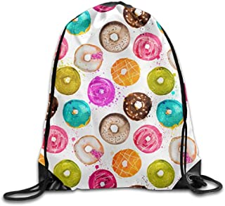 Hand Painted Watercolor Donuts Seamless Background Drawstring Pack Beam Mouth Gym Sack Shoulder Bags For Men & Women