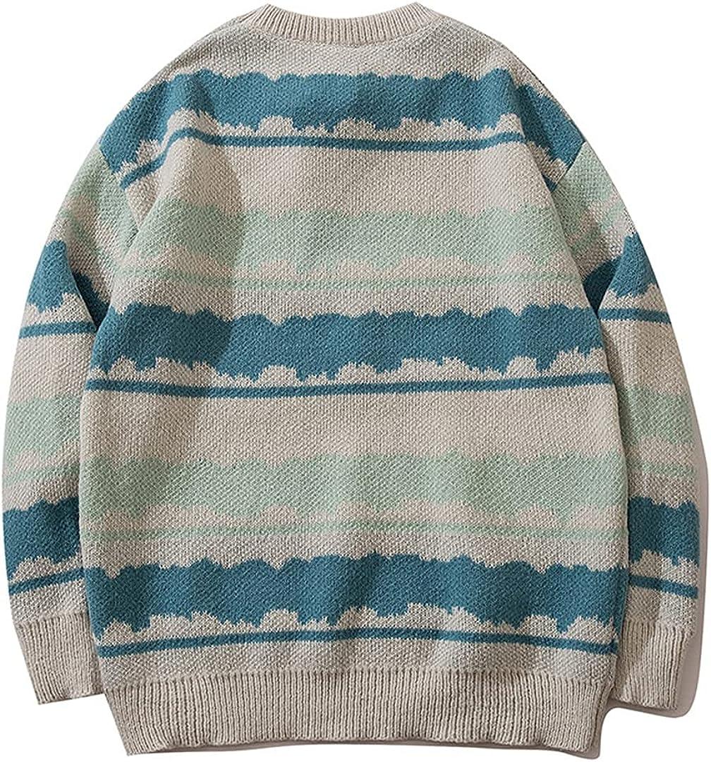 Couple Vintage Striped Oversized Jumper Sweater Men Hip Hop Punk Pullover Grandpa Sweater