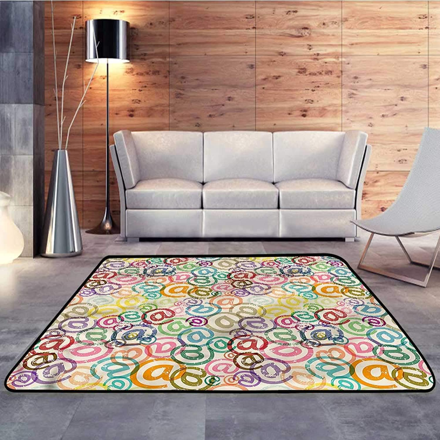 Carpet mat,colorful,Old Pattern Email SignsW 47  x L59 Floor Mat Entrance Doormat
