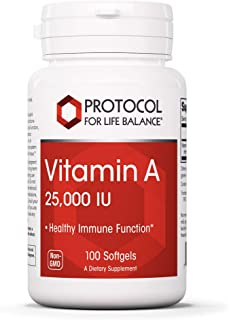 Protocol For Life Balance - Vitamin A 25000 IU - Promotes Healthy Immune Function, Anti-Oxidation, and Provides Cellular S...