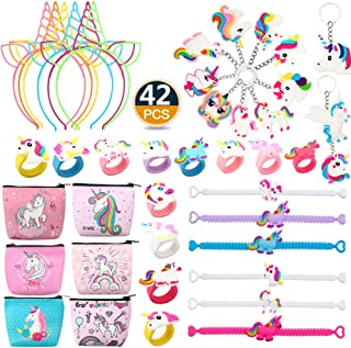 RHCPFOVR Lingpeng 42Pack Packung Regenbogen Einhorn Birthday Party Supplies Set, Stirnbänder, Einhorn Armbänder, Geldbörse, Schlüsselanhänger, Ringe Neuheit Spielzeug Preise Geschenke