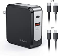USB C Charger, PeohZarr 48W PD Charger with Two Charging Cable, 30W for iPhone 11 Pro iPad Pro 2018 12.9,11, MacBook Pro, Air, 12 inch, iPhone, 18W Quick Charger 3.0 for S10/S9