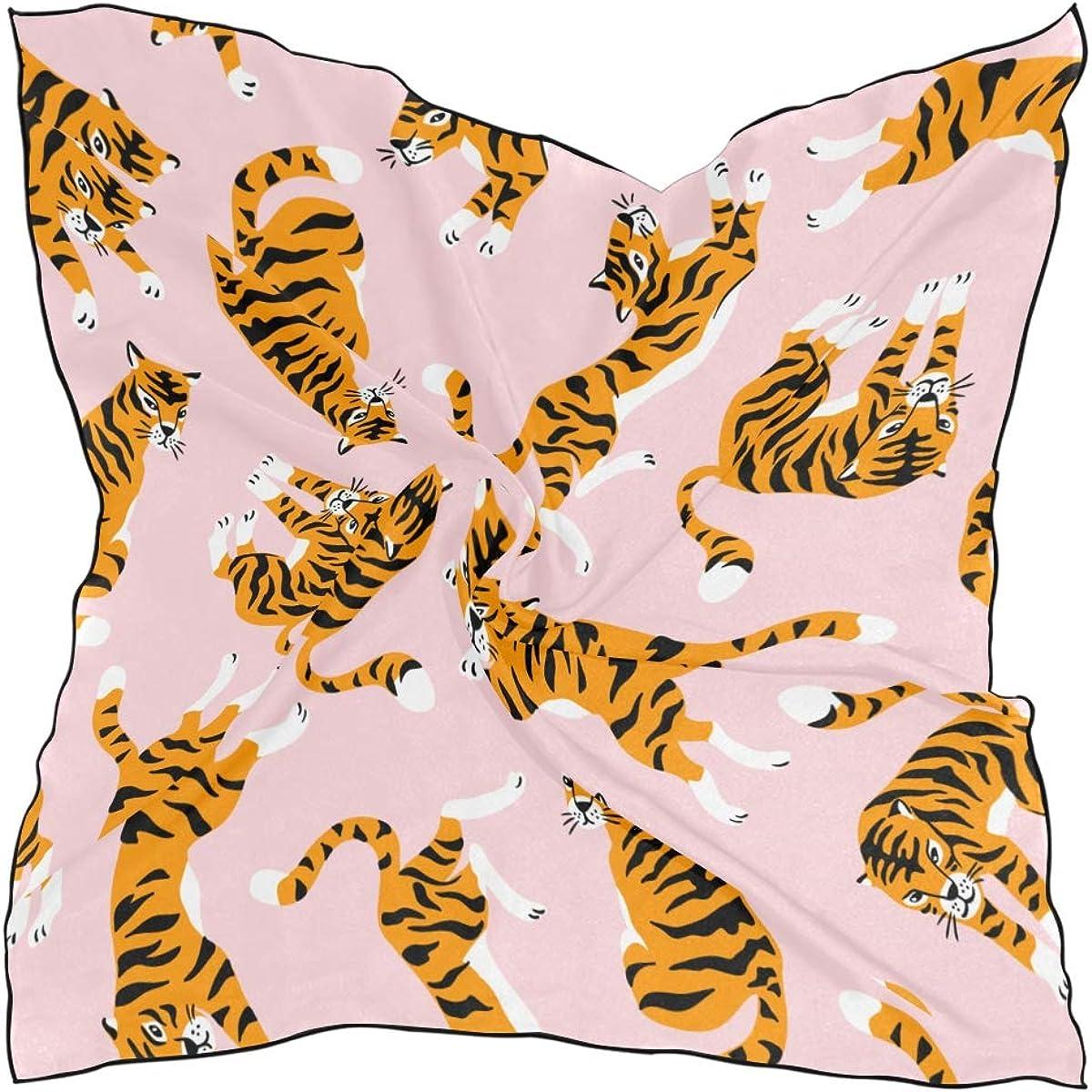 Women's Soft Polyester Silk Square Scarf Tiger Cartoon Animal Beast Leopard Print Speed Design Forest Fashion Print Head & Hair Scarf Neckerchief Accessory-23.6x23.6 Inch