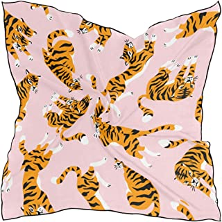 Women's Soft Polyester Silk Square Scarf Tiger Cartoon Animal Beast Leopard Print Speed Design Forest Fashion Print Head & Hair Scarf Neckerchief Accessory-23.6x23.6 Inch