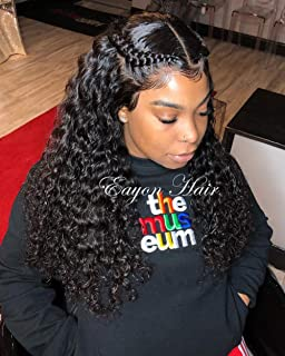 Eayon 360 Curly Lace Frontal Wig Human Hair Wigs Water Wave Lace Front Wigs Pre Plucked for Black Women 180% Density 14 inches