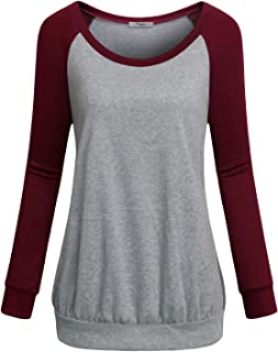 Womens Crew Neck Long Raglan Sleeve Casual Lightweight Pullover Sweatshirt