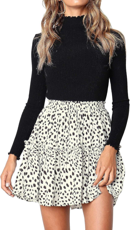 Salamola Women's Leopard Asymmetrical Waist Ruffles Attention brand High Ranking TOP6 Printed