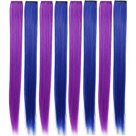 SARARHY 8PCS Accesorios para el cabello de moda Piezas de peluca azul púrpura para niñas y muñecas Clip de extensión de cabello de color en Destacado ...