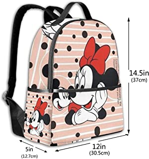 Classic School Backpack Minnie Miss Mickey Unisex College Schoolbag Travel Bookbag Black