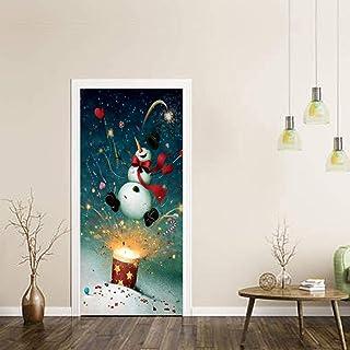 ZOOINB Murali 3D Adesivo da Parete, 95X215Cm Petardo di Natale Pupazzo di Neve Vacanza Adesivi per Porte Soggiorno Immagin...