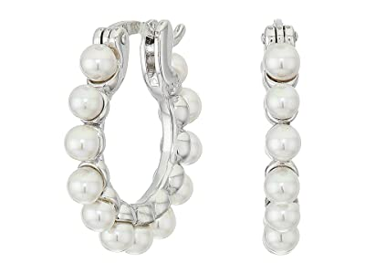 Majorica 3 mm Karma Round Pearls Hoop Earrings (White) Earring