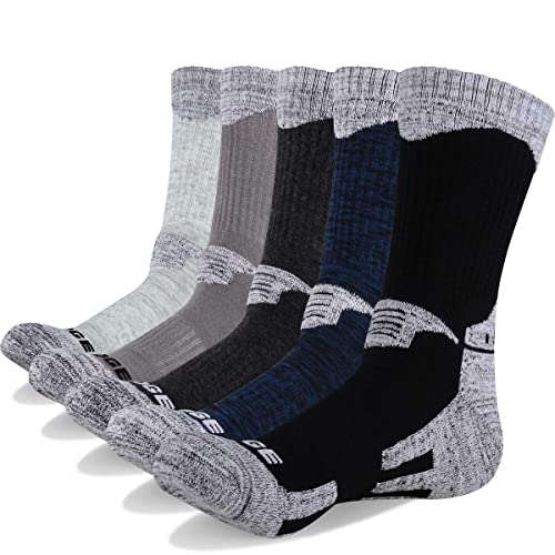 new style e9081 90d47 YUEDGE 5 Pairs Men s Cushion Crew Socks Outdoor Recreation Performance  Trekking Climbing Camping Hiking Socks
