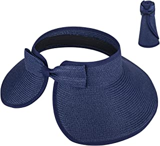 Sombrero de Visera Plegable Verano Sombrero para el Sol Mujeres con Bowknot para Damas UPF50