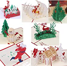 3D Greeting Christmas Cards Papercraft 7 Pack Holiday Birthday Pop Up Cards Gift