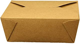 """Take Out Containers Easy Fold & Close (Pack of 50) Box #8 Kraft Paper with Poly-coated Inside To-go Containers [48oz - 5.9"""" x 4.6"""" x 2.4""""]"""