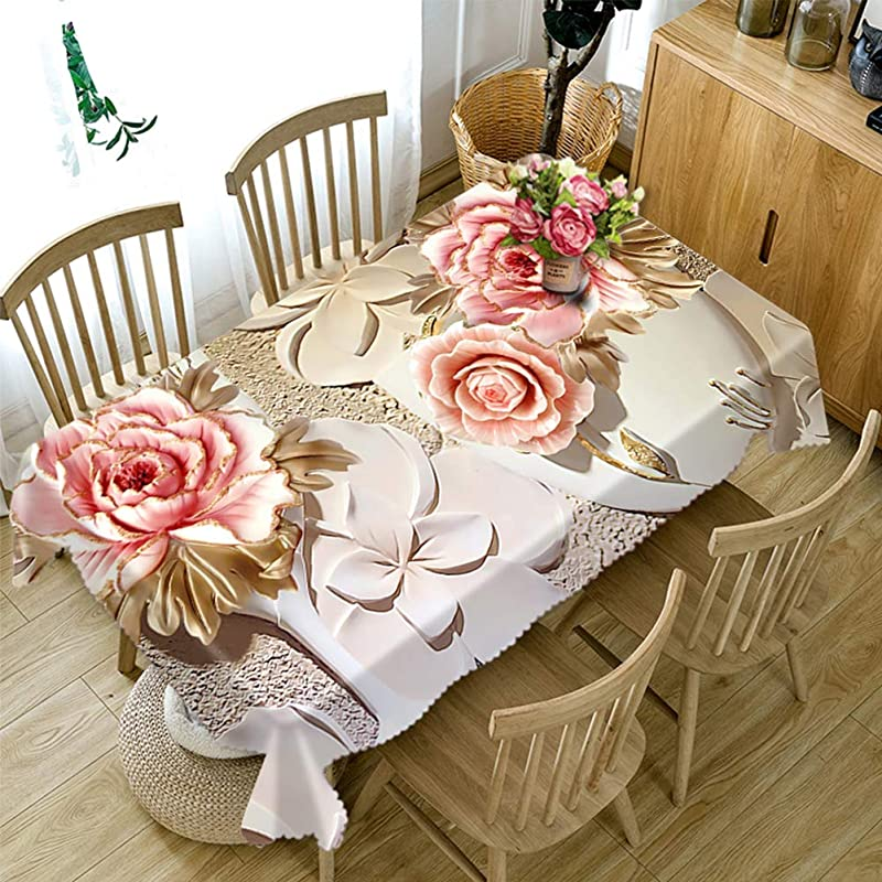 LFJNET Beautifully Tablecloths 3D Tablecloth Flowers Pattern Dustproof Table Cover For Home Restaurant Household Decoration Pansy 134X183cm