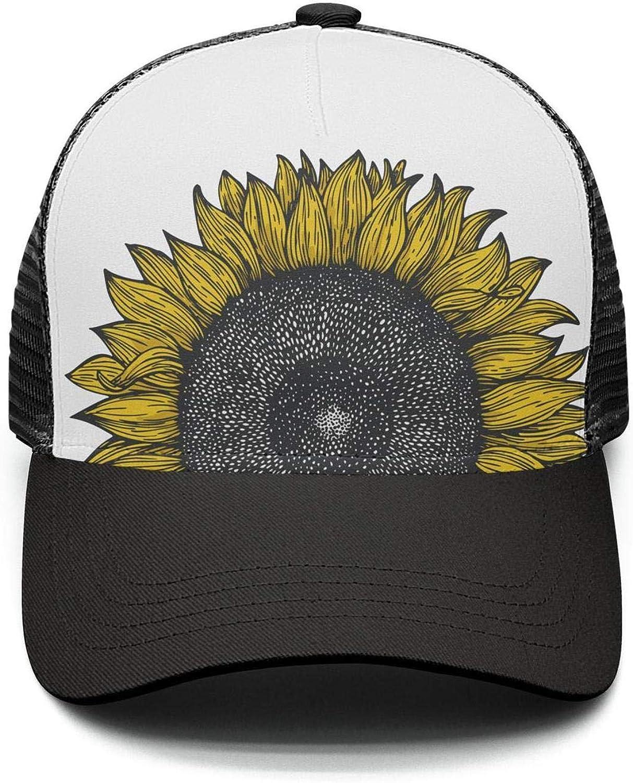 Yellow Tropical Plants Vintage Sunflower Dad Hat Adjustable and Classic Mesh Trucker Baseball Cap for Men Women Plain Visor