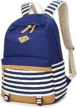 Chihom School Bacpack Lightweight Canvas Laptop Backpacks for Men Women Daypacks Stripe Rucksack Bookbags Blue