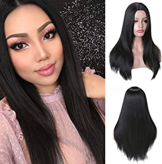 MISSWIG Natural Long Straight Synthetic Black Color Full Wig Heat Resistant Wigs for Women Party Wear 21 Inches With Free Wig Cap.