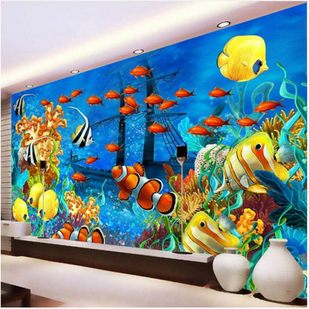 Large special price !! xbwy Wallpaper Stereo Cartoon Tropical Discount mail order World Mur Fish Underwater