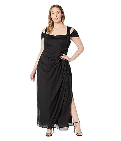Alex Evenings Plus Size Long Mesh Cold Shoulder Dress (Black) Women