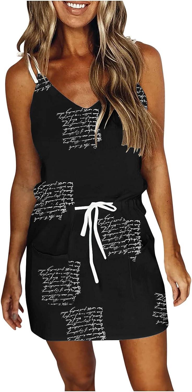 melupa Casual Dresses for Women Sleeveless Summer Beach Dress V Neck Spaghetti Strap A Line Mini Sundresses with Pockets