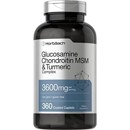 Glucosamine Chondroitin | 3600 mg | 360 Caplets | MSM and Turmeric | Advanced Formula for Joint Support | Non-GMO, Gluten Free | by Horbaach