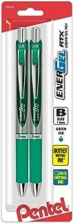 Pentel EnerGel RTX Retractable Liquid Gel Pen, Bold Line, Metal Tip, Green Ink 2-Pack (BL80BP2D)