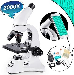 BEBANG 200X-2000X Microscopio para niños, estudiantes y adultos, Doble iluminación, Enfoque Grueso y Fino, con Adaptador de Smartphone, Kit Completo de Accesorios