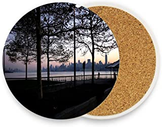 Nyc Bay From Governors Isl Absorbent Coasters For Drinks,Ceramic Stone With Cork Backing,Drink Coaster Pack of 1 No Holder