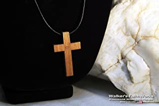 Walnut Wood Cross & Adjustable Black Leather Necklace for Christian Men and Women. Simple 2